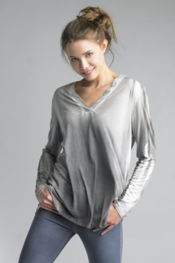 Tempo Paris Long Sleeve Sueded Top 31065CO Gray