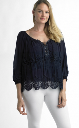 Tempo Paris Silk Top 46233 Navy