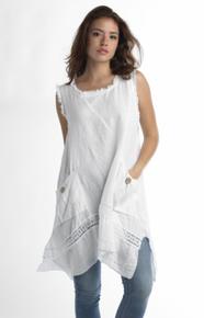 Tempo Paris Linen Tunic Dress 6079T White