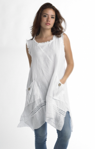 Tempo Paris Linen Tunic Dress 6079T White