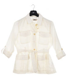 New Man Women's Linen Saharan Jacket Off White