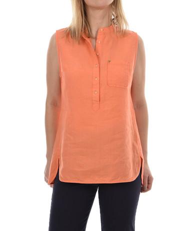 New Man Women's Sleeveless Linen Top Orange