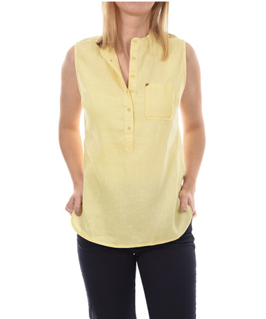 New Man Women's Sleeveless Linen Top Yellow