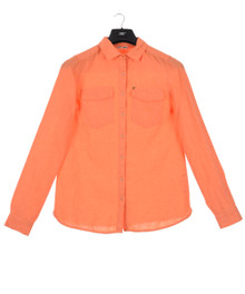New Man Women's Long Sleeve Linen Shirt Orange