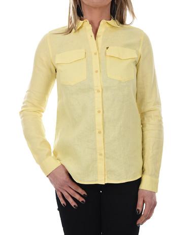 New Man Women's Long Sleeve Linen Shirt Yellow