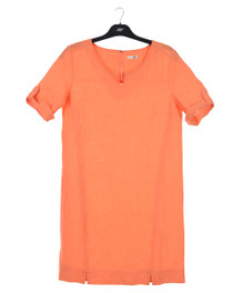 New Man Women's Short Sleeve Linen Dress Orange