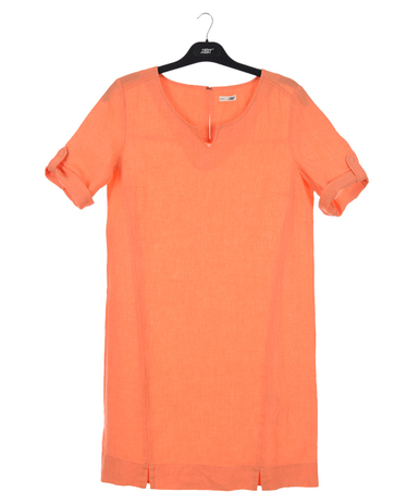 New Man Women's Short Sleeve Linen Dress Orange