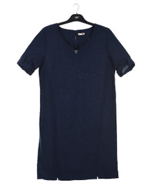 New Man Women's Short Sleeve Linen Dress Navy