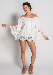 Muche et Muchette Jolie Off the Shoulder Double Lace Top White