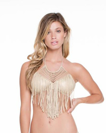 Luli Fama Heart of a Hippie Fringed Halter Bikini Set Gold Rush