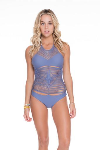 Luli Fama Heart of a Hippie Weave One piece Swimsuit Blue Moon
