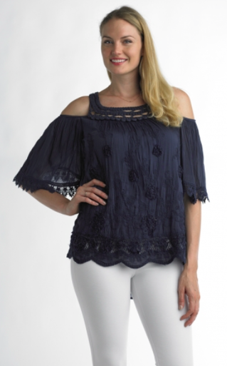 Tempo Paris 5288 Cold Shoulder Top Navy