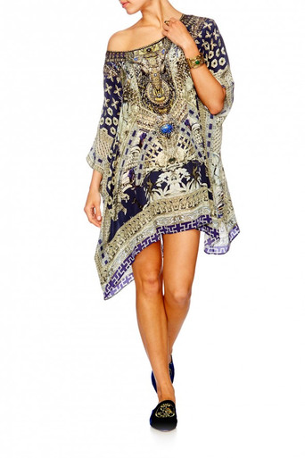 Camilla A Little Past Twilight Short Round Neck Kaftan