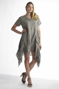 Tempo Paris Linen Tunic Dress 8704 Taupe