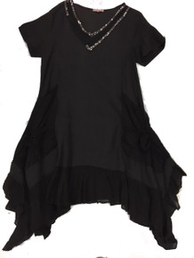 Tempo Paris Linen Tunic Dress 8704 Black