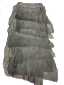 Tempo Paris 6582SO Silk Angled Tiered Skirt Charcoal