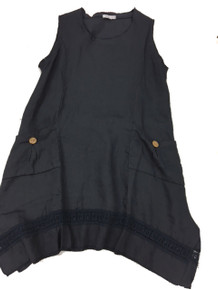Tempo Paris Linen Tunic Dress 6079T NAVY