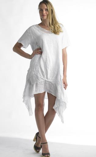 Tempo Paris Linen Tunic Dress 8704 White