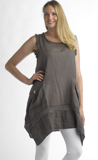 Tempo Paris Linen Tunic Dress 6079 Taupe