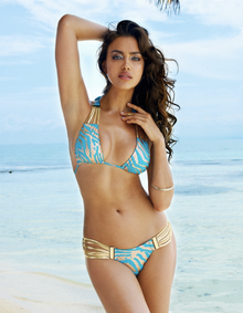 Beach Bunny Swimwear Take the Reins Detail Turquoise Zebra