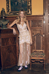 For Love and Lemons Mallorca Embroidery Maxi Dress Latte