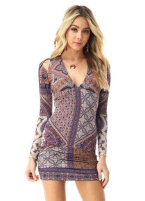 Sky Kapiton Long Sleeve Mini Dress Navy Print