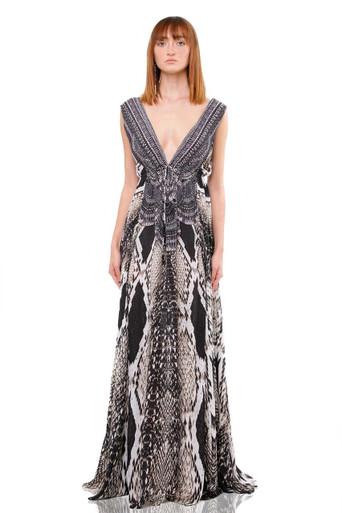 Shahida Parides Python Print Long Dress Caviar Black