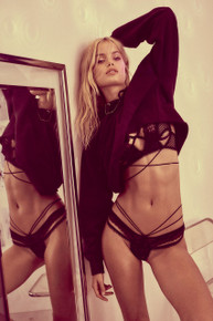 Skivvies by For Love and Lemons Vega Strappy Thong Black