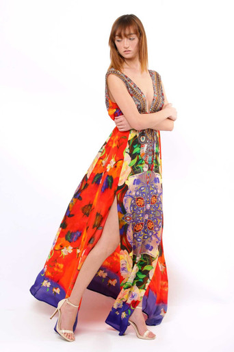 Shahida Parides Red Rose Print Long Dress