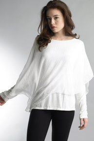 Tempo Paris 16982Y Long Sleeve Draped Overlay White