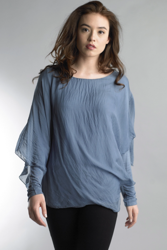 Tempo Paris 16982Y Long Sleeve Draped Overlay Denim