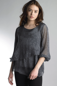 Tempo Paris 216190BL Silk Top Dark Grey