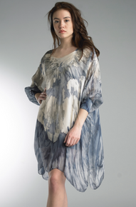 Tempo Paris 52781 Silk Watercolor Tunic Denim