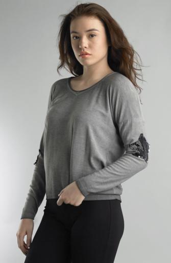 Tempo Paris 50801C Knit Star Top Gray