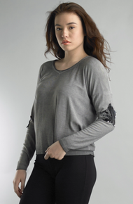 Tempo Paris 50801C Knit Star Top Gray