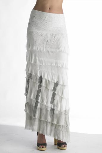 Tempo Paris 9608 Dip Dye Silk Jersey Maxi Skirt Grey