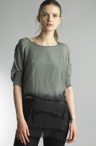 Tempo Paris 109338SH Dip Dye Silk Tunic Top Olive