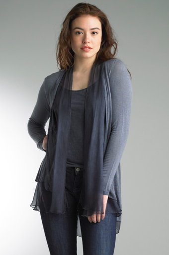 Tempo Paris 2802HL Silk Jersey Knit Jacket Denim