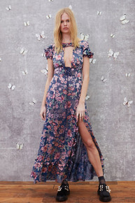 For Love and Lemons Flora Maxi Dress Navy Floral