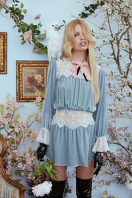 For Love and Lemons Beatrix Lace Velvet Mini Dress Powder Blue