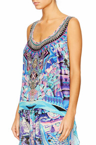 Camilla Threads of Cosmos Scoop Neck Top with Long Back