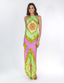 Trisha Paterson Silk Stretch Dress Sevres Green Pink 15A