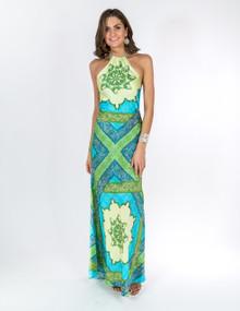 Trisha Paterson Silk Stretch Dress Blue Maze 001