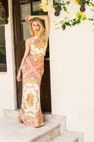 Trisha Paterson Silk Stretch Dress Sienna 001