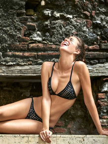 PilyQ Midnight Laser Cut Bikini Set Black