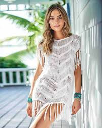 PilyQ Waterlily Fringe Tunic Cover Up Off White