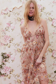 For Love and Lemons Botanic Midi Dress Nude Floral