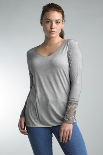 Tempo Paris 10422SU Long Sleeve V Neck Top Gray