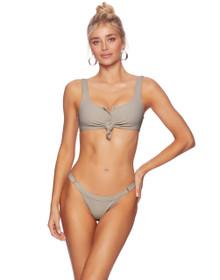Beach Bunny Swimwear Rib Tide Knotted Bikini Set Taupe Tortuga