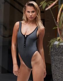 Beach Bunny Swimwear Presley Ribbed One Piece Swimsuit Dark Grey